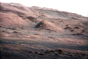 Mount Sharp, seen from Mars rover Curiosity. NASA/JPL photo.
