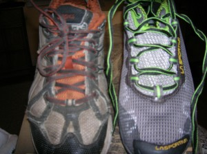 The old (Asics Trail Sensor circa 2009) and the new (La Sportiva Wildcat circa 2013)