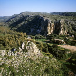 Tabun Cave, site of pre-historic human activity,  lies next to the Israel National Trail (phto: Albatross Aerial Photography)