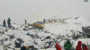 from nytimes.com (04/25/15) The base camp at Mount Everest after an avalanche on Saturday. Credit Azim Afif/via Associated Press