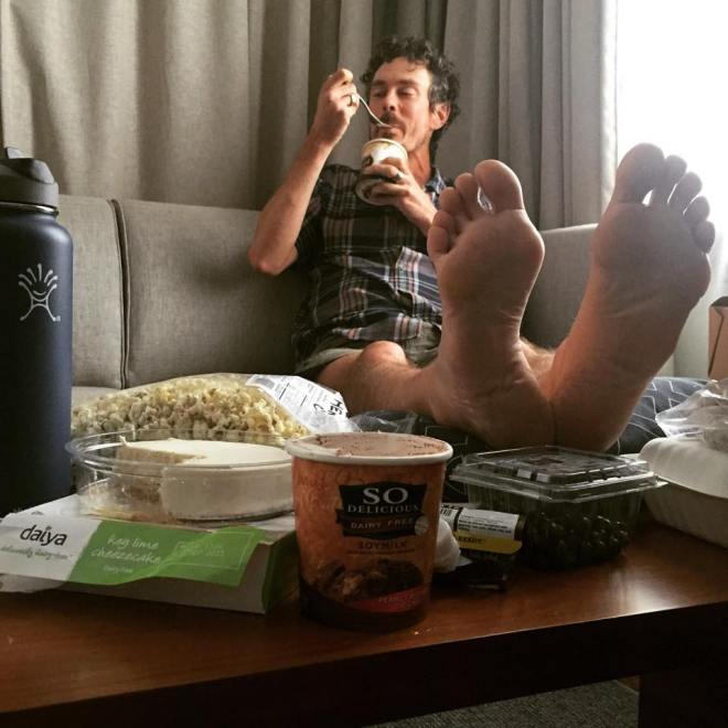 Scott Jurek shows his feet after 2,180 miles on the AT (from Scott Jurek's Facebook page)