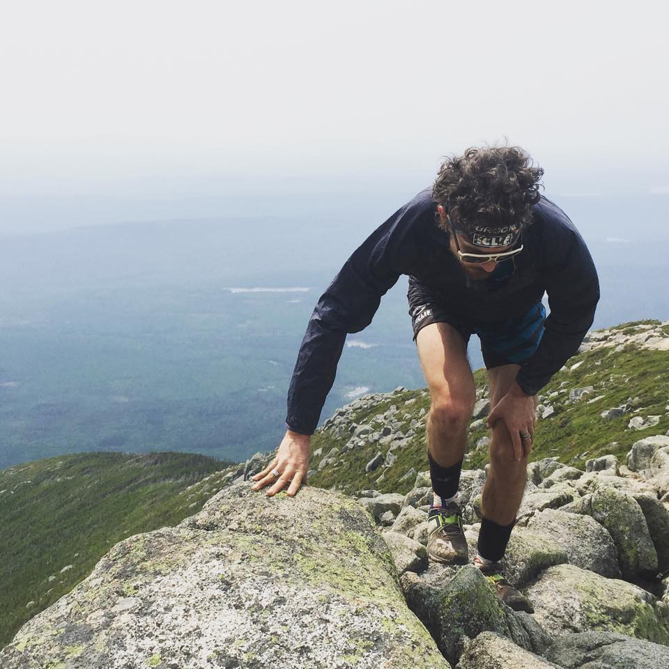 Jurek closing in on Mt. Katahdin, a terminus of the AT, wearing Brooks Pure Grit trail shoes (from his FB page)