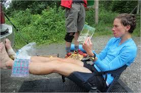 Pharr Davis resting during  her AT record setting hike. New York Times, Melissa Dobbins